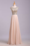 Blush Pink Cap Sleeve Chiffon Beads Round Neck Open Back Long Prom Dresses JS174