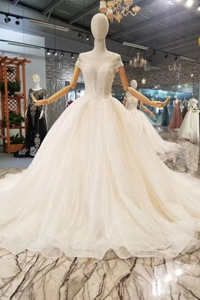 2019 Luxury Wedding Dresses V-Neck Ball Gown Chapel Train