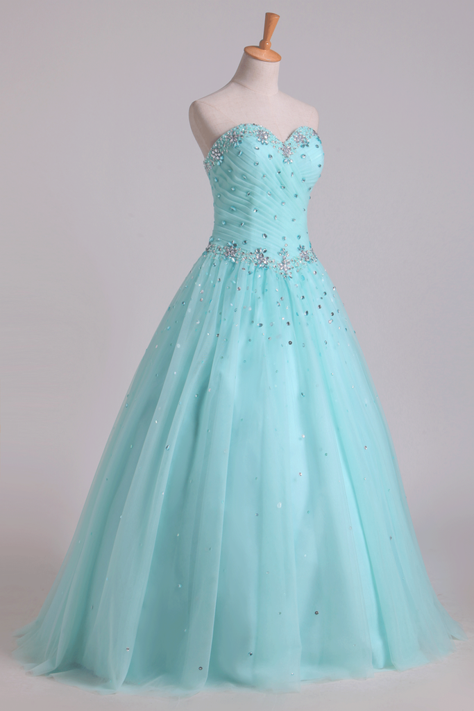 2019 Quinceanera Dresses Pleated Bodice Sweetheart Ball Gown Floor-Length