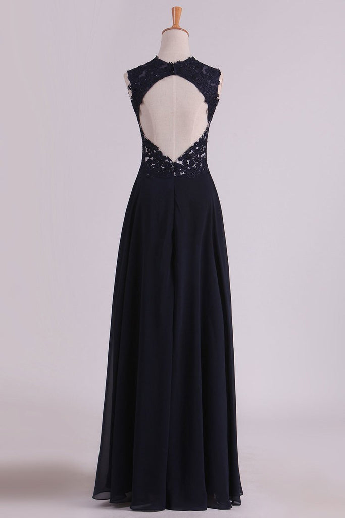 2019 Straps Prom Dresses With Applique And Beads Open Back A Line Chiffon