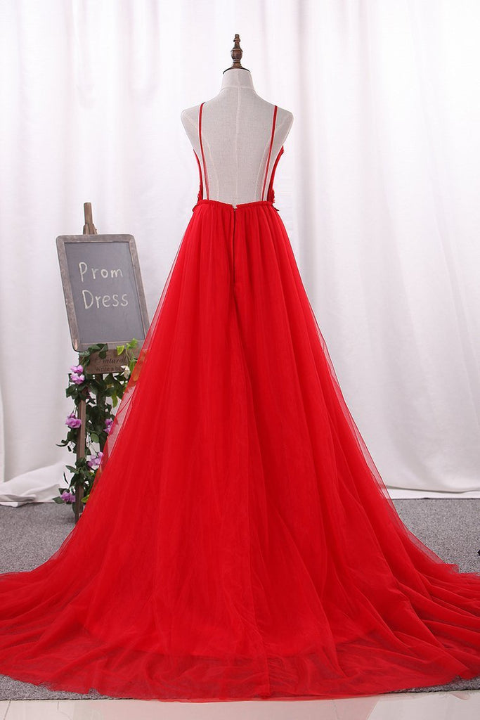 2019 Prom Dresses Spaghetti Straps Tulle With Applique And Handmade Flower