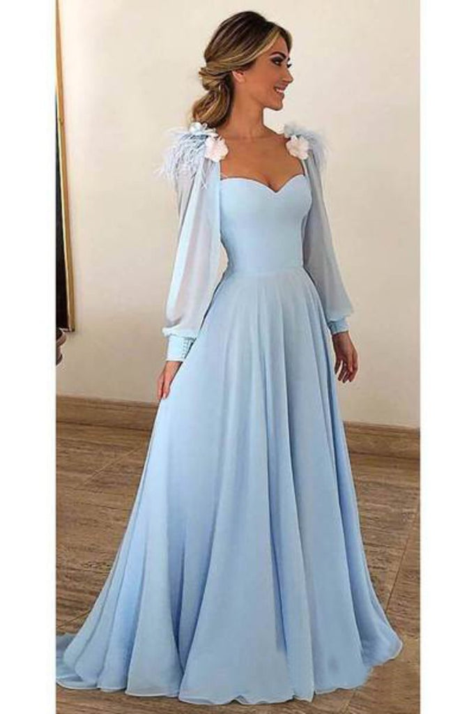 2019 Sky Blue Long Chiffon Prom Dresses With Sleeves Modest Formal Dress