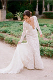 Scalloped-Edge Mermaid Lace Chapel Train Wedding Dress