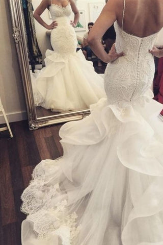 Gorgeous Spaghetti Straps Mermaid/Trumpet Wedding Dresses With Covered Button