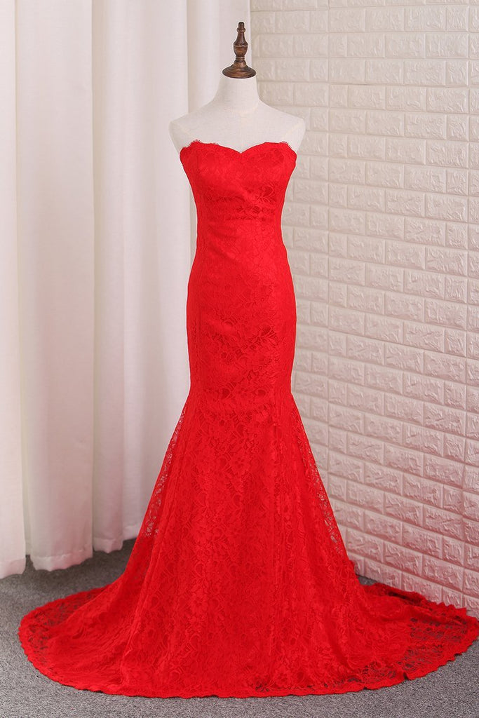 2019 Mermaid Lace Evening Dresses Sweep Train New Arrival