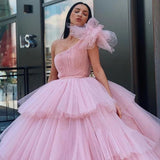 Charming Ball Gown Tulle Pink One Shoulder Long Prom Dresses, Quinceanera Dresses SSM15096