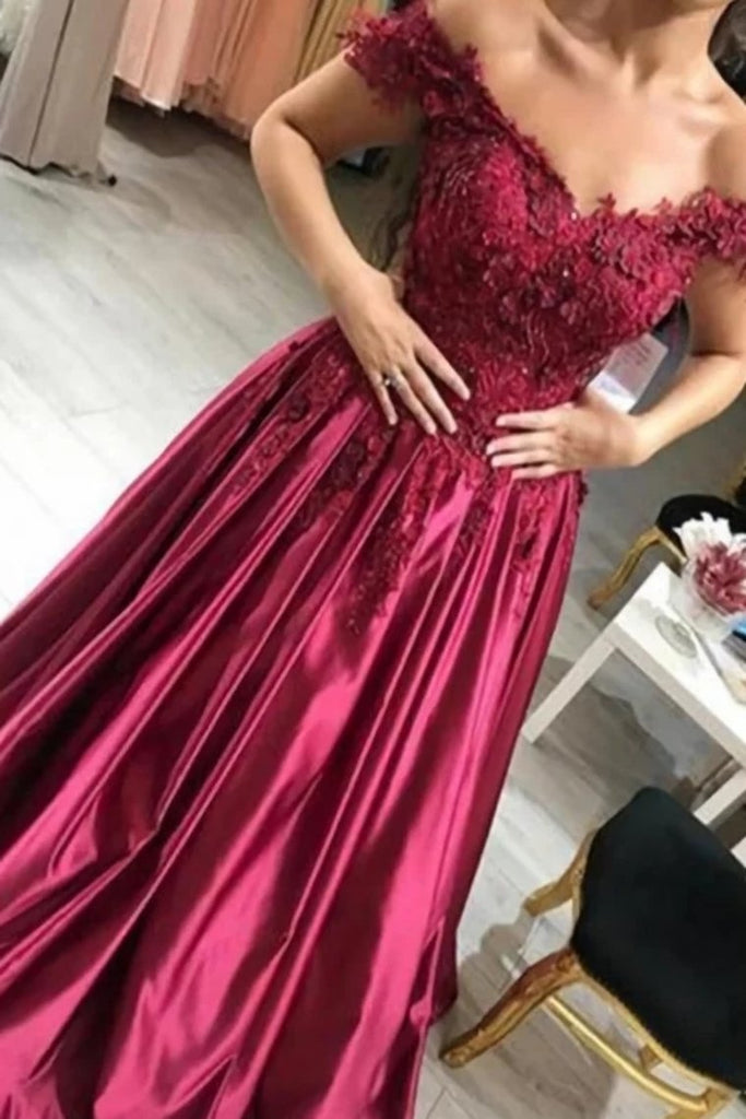 Burgundy Prom Dress Satin Ball Gown Off-The-Shoulder With Applique
