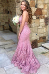 Straps Mermaid All Over Lace Prom Dress