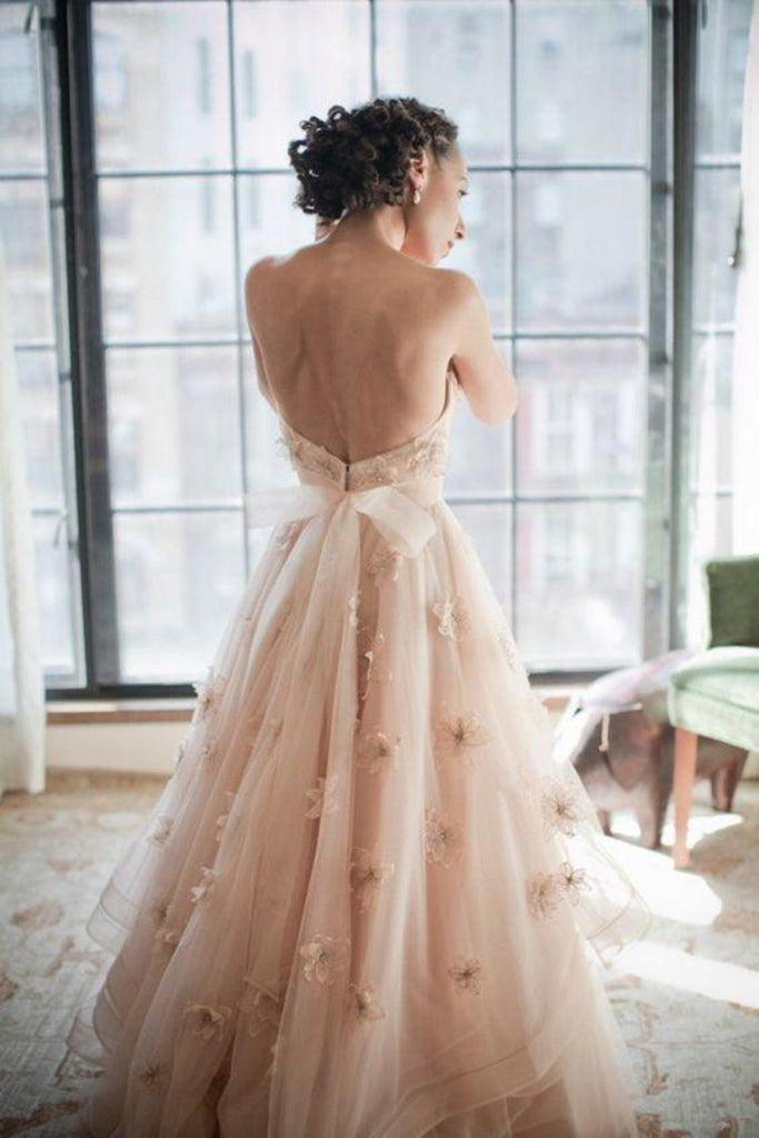 Pretty Sweetheart Long Open Back Wedding Dresses Charming Bridal Dresses