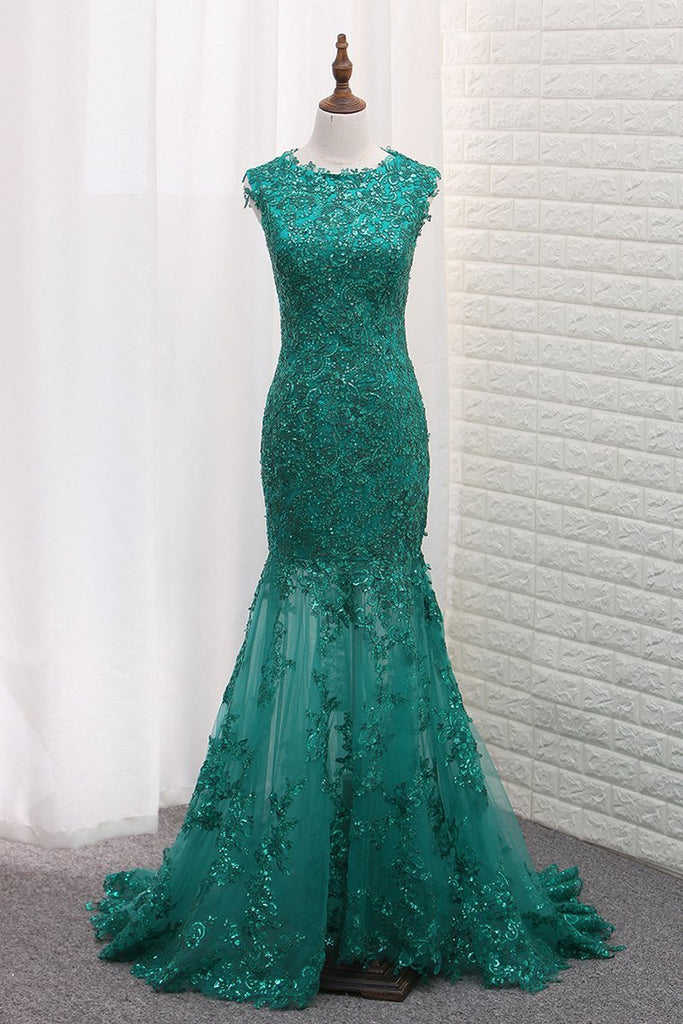 2019 Mermaid Prom Dresses Scoop Tulle With Applique And Beads Sweep Train