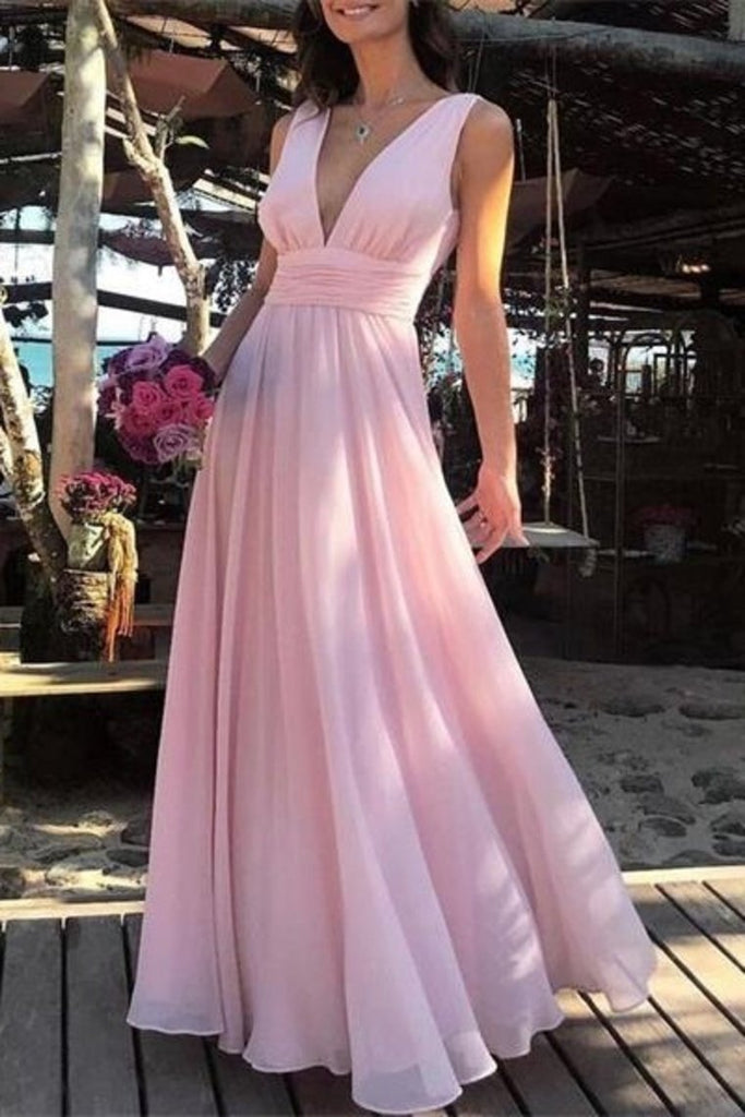 Flowy Simple Cheap Long V-Neck Pink Prom Dresses Party Dresses
