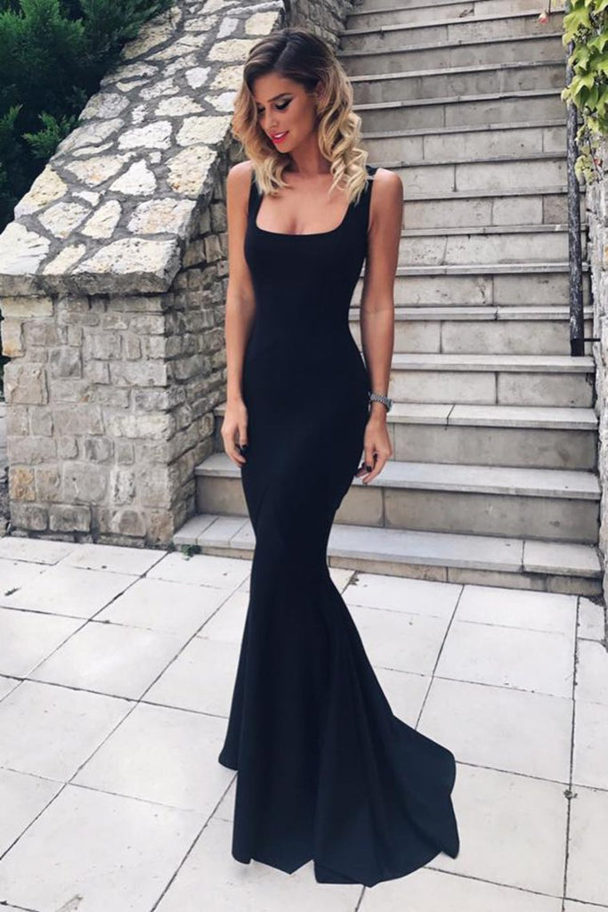 2019 New Arrival Square Neck Evening Dresses Satin Mermaid Sweep Train