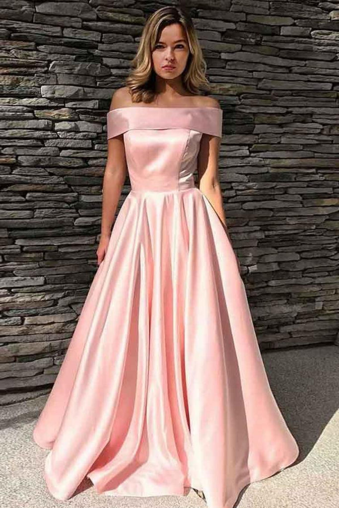 Simple Elegant Long Off The Shoulder Pink Prom Dresses With Pockets