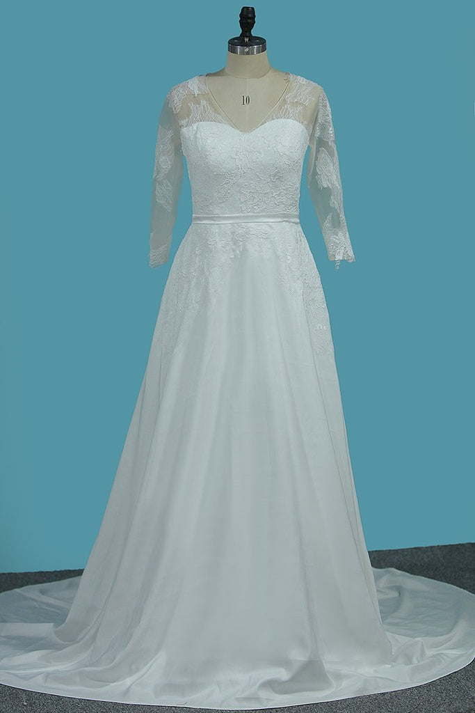 V Neck 3/4 Length Sleeves Chiffon Wedding Dresses With Applique A Line