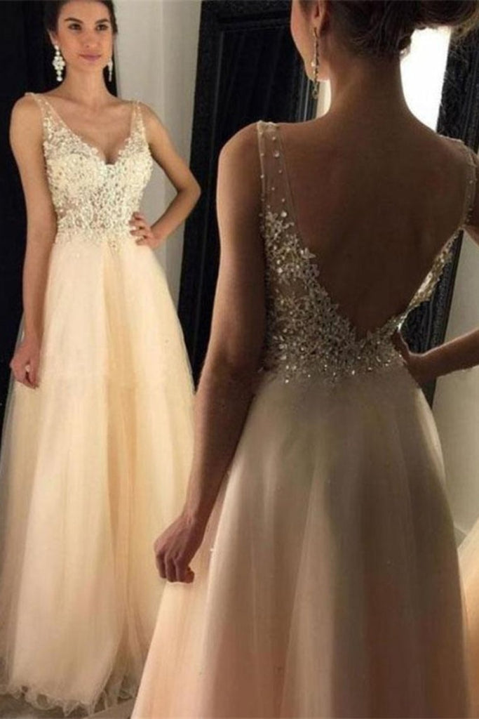 Champagne Lace Tulle Beading A-Line V-Neck Simple Flowy Prom Dresses