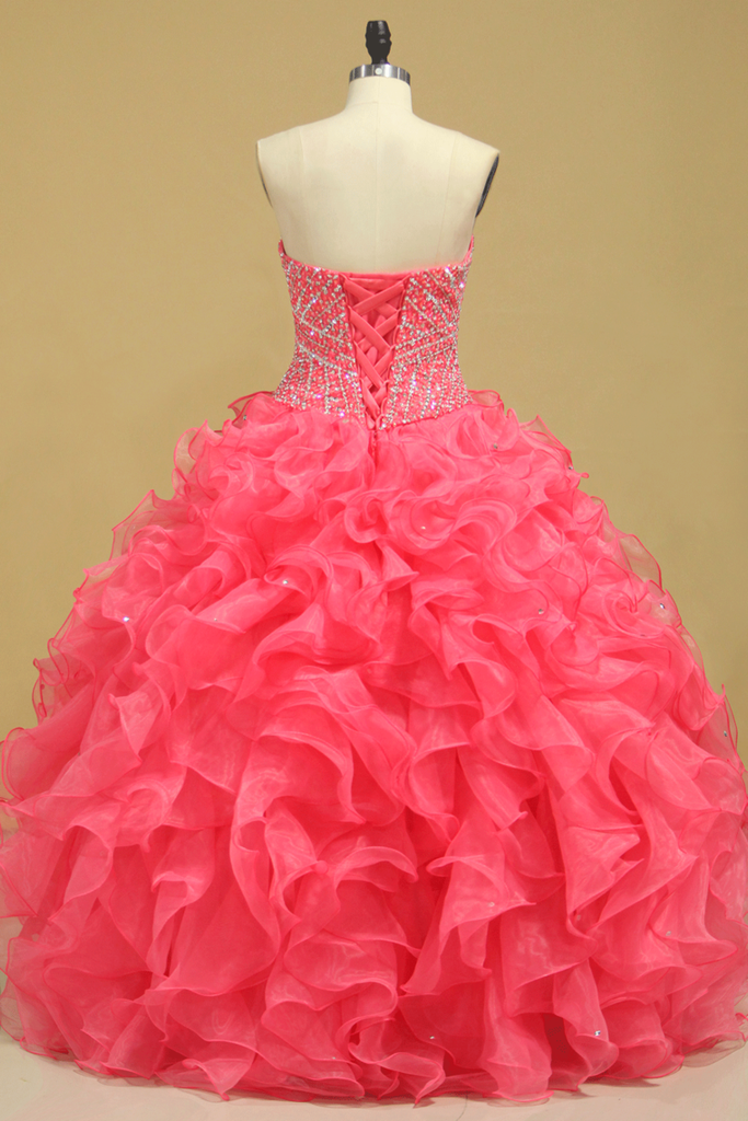 2019 Beautiful Quinceanera Beaded Bodice Sweetheart Floor Length Ruffle Skirt Orange
