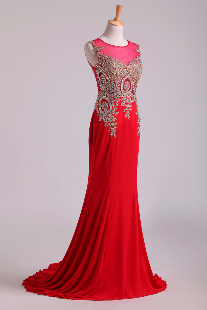 2019 Red Prom Dresses Scoop Mermaid Sweep Spandex With Applique Sleeveless