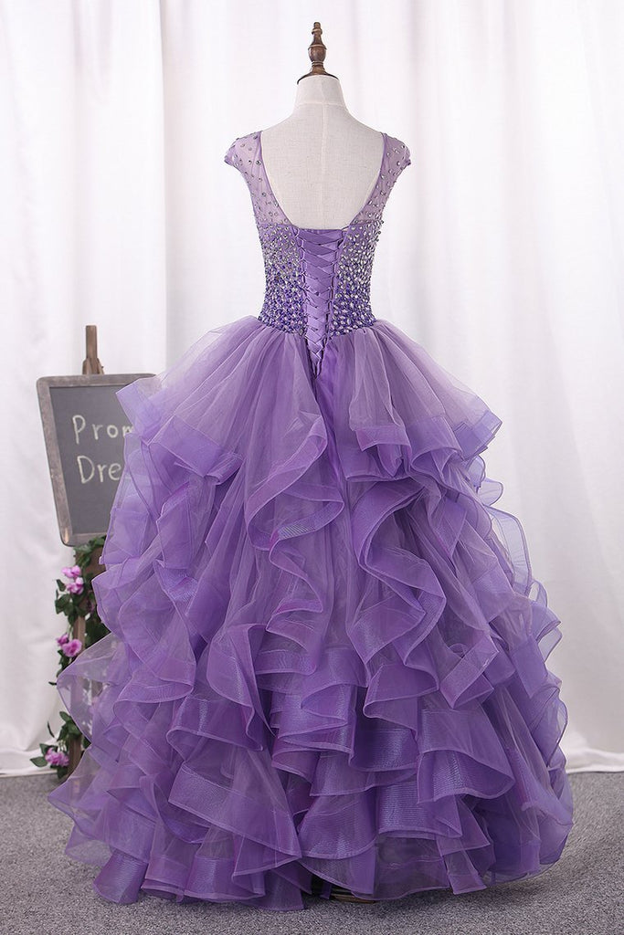 2021 Ball Gown Scoop Beaded Bodice Tulle Quinceanera Dresses Floor Length