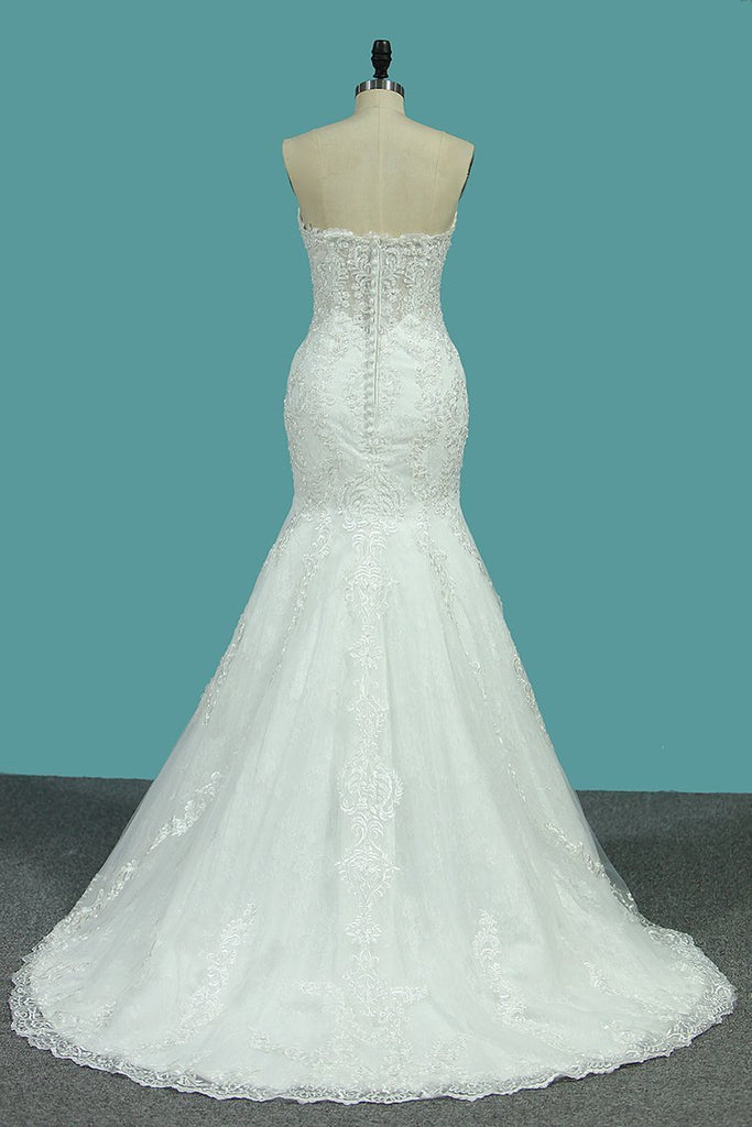 Sweetheart Mermaid Wedding Dresses Tulle With Applique Court Train