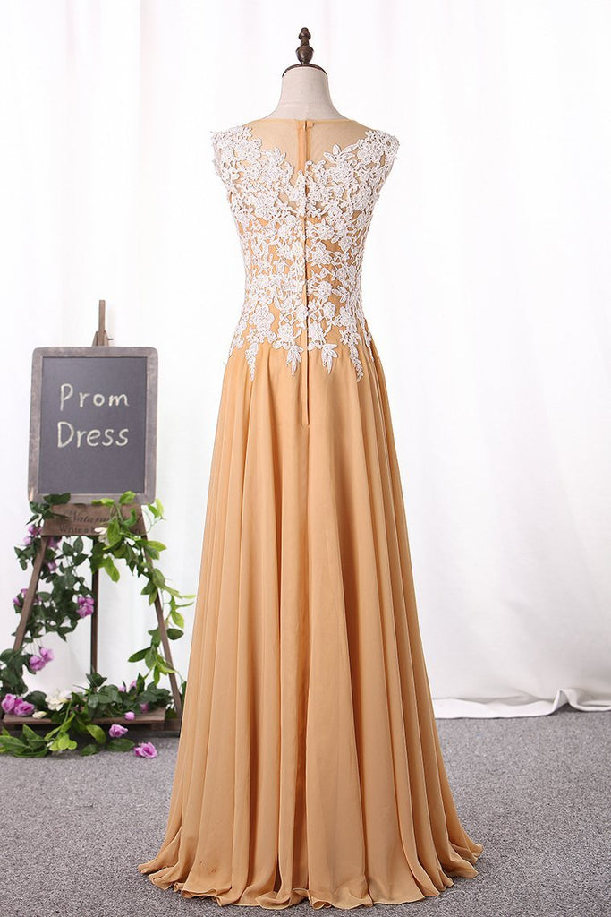 2021 A Line Scoop Prom Dresses Chiffon With Applique Floor Length