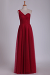 Tulle One Shoulder A Line With Ruffles Floor Length Bridesmaid Dresses