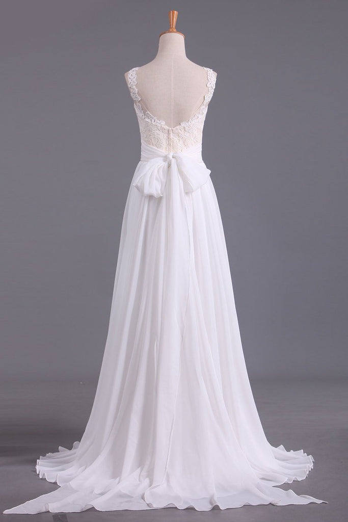 2019 Sexy Open Back Scoop With Applique And Sash Wedding Dresses A Line Chiffon Sweep Train