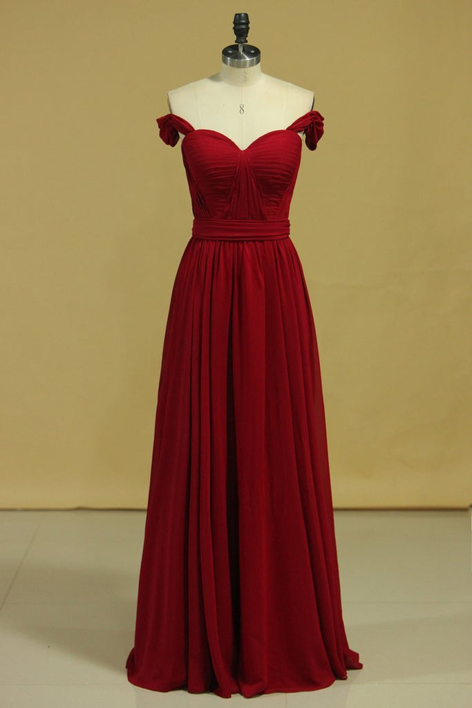 Burgundy/Maroon Prom Dresses Off The Shoulder A Line Chiffon Floor Length With Ruffles