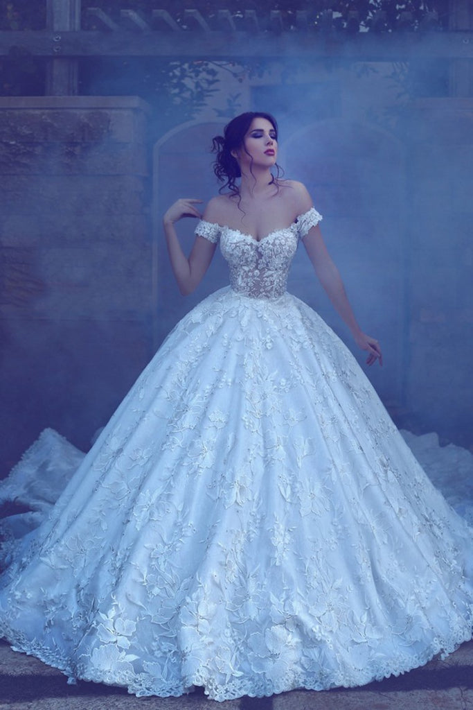 2019 Lace A Line Off The Shoulder Wedding Dresses With Applique Chapel Train