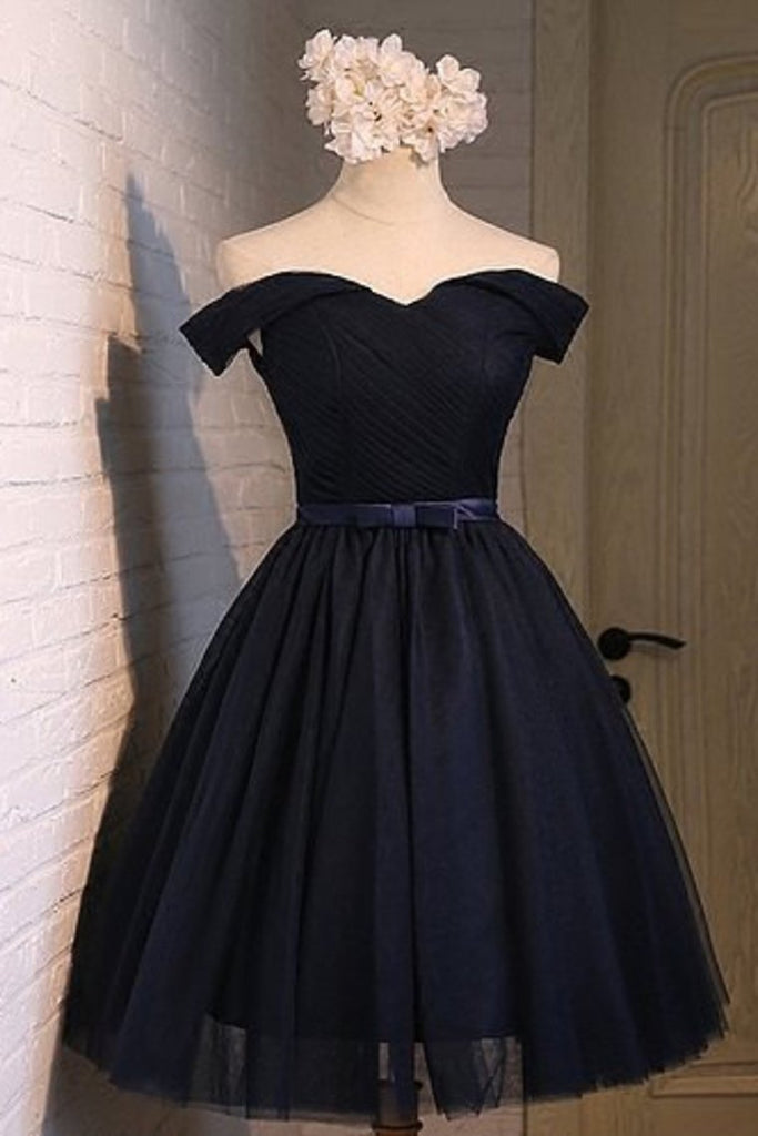 2021 Off The Shoulder A Line Homecoming Dresses Tulle With Ruffles And Sash