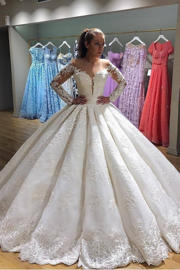 2021 Scoop Long Sleeves Ball Gown Wedding Dresses Tulle With Applique Sweep Train