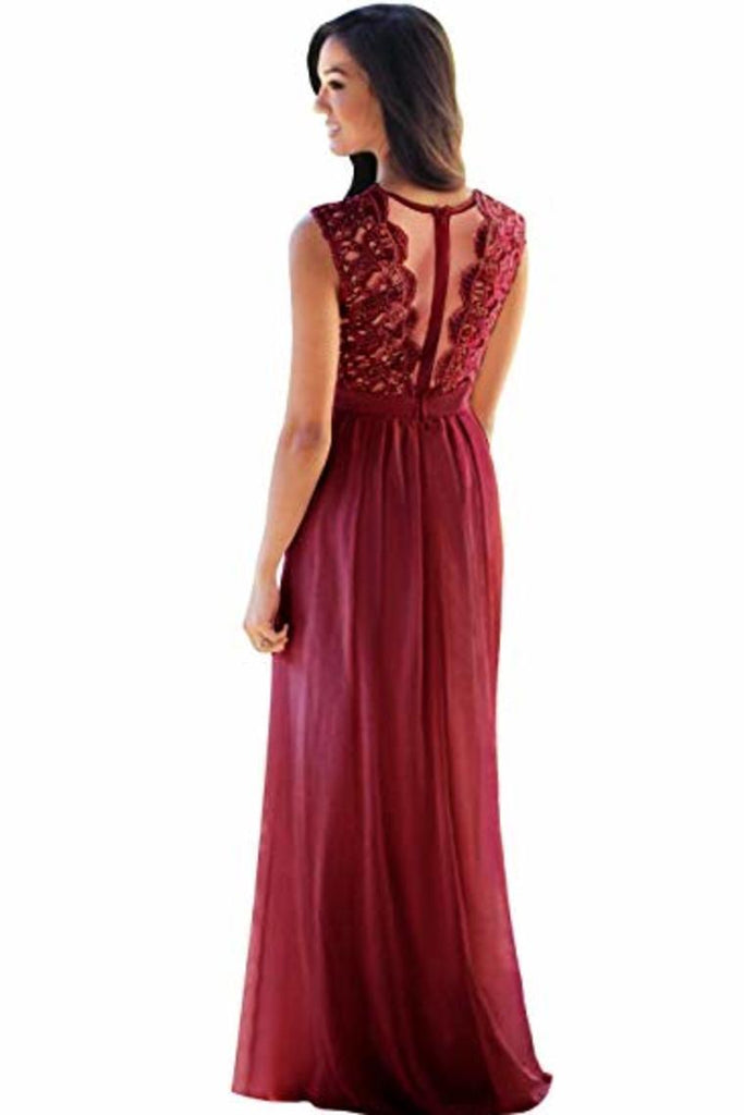 Lace Chiffon  Prom Dresses A Line Round Neck Long Evening Dresses