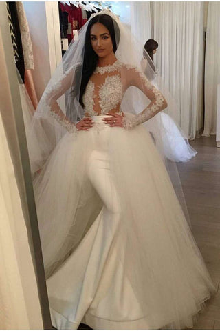 Mermaid Scoop Long Sleeves Stretch Satin Wedding Dresses With Tulle Detachable Train