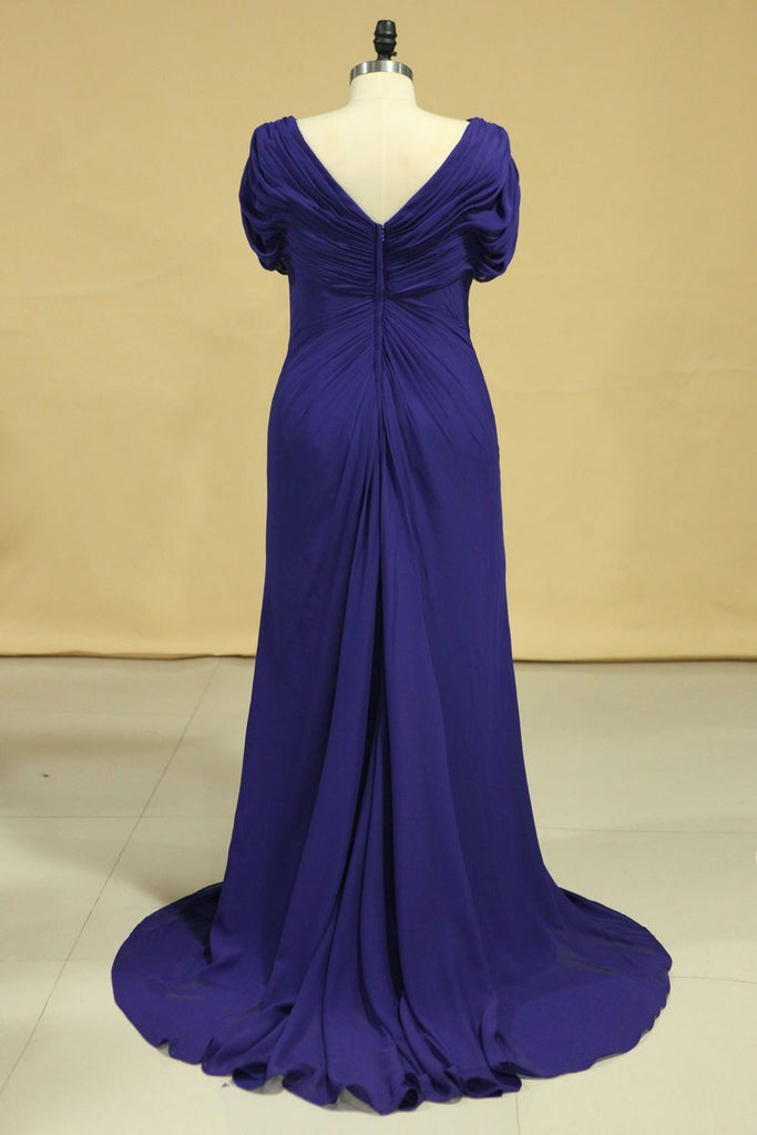 Elegant V Neck Evening Dresses Chiffon Sweep Train With Ruffles