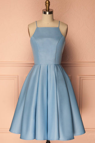 A Line Blue Halter Sleeveless Short Satin Knee Length Homecoming Dress JS601