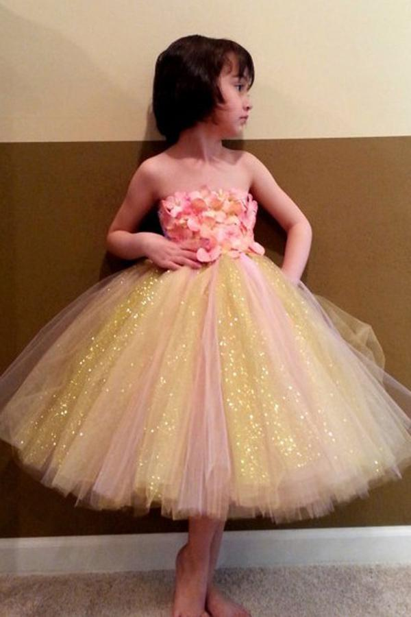 Sweet Ball Gown Strapless Tulle Ankle-length Bowknot Ribbons Multi Flower Girl Dresses JS734