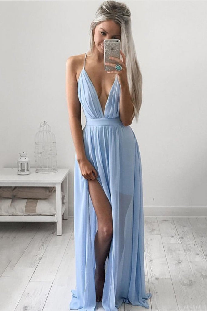 2019 Sexy Chiffon Spaghetti Straps A Line Prom Dresses With Slit