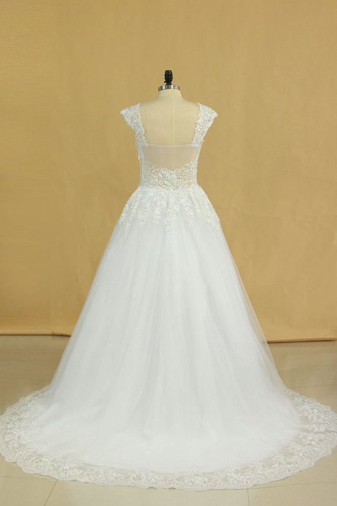2021 Plus Size Bridal Dresses A-Line Off The Shoulder Tulle Court Train White Zipper Back