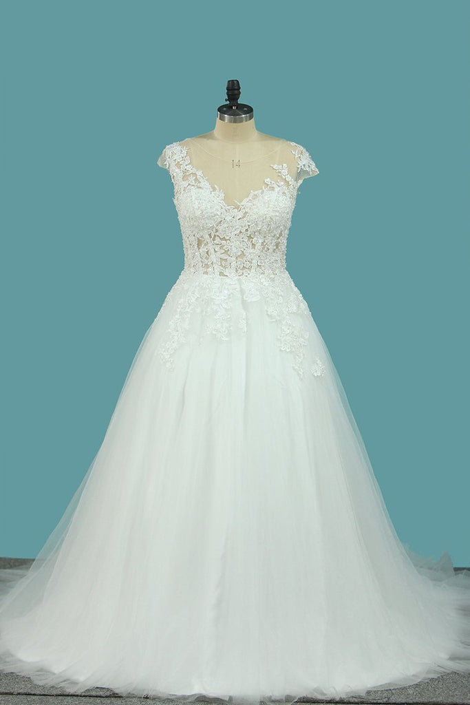 2021 A Line Tulle Cap Sleeve Scoop Wedding Dresses With Applique Court Train