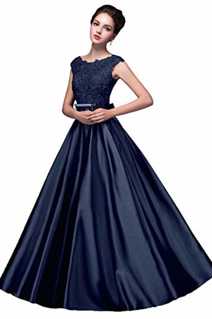 Elegant A-Line Applique Round Neck Lace Satin Ball Gown Evening Prom Dress