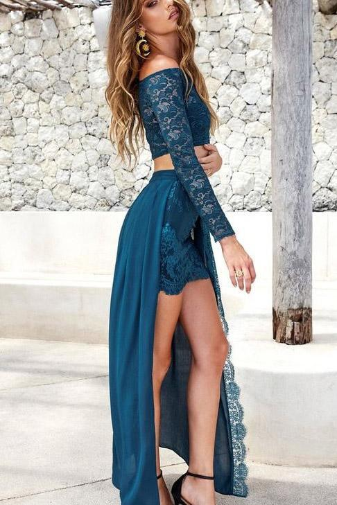 Two Piece Lace and Chiffon Long Sleeves Lace Slit Off the Shoulder Prom Dresses JS401