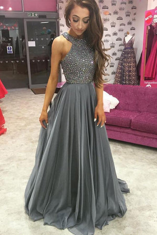Grey Halter Open Back Chiffon A-Line Rhinestone Beaded Top Dark Long Prom Dresses UK JS287