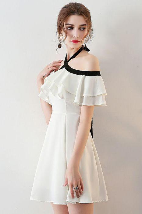 Chic Halter A Line Simple White Off the Shoulder Chiffon Cheap Short Homecoming Dress JS751