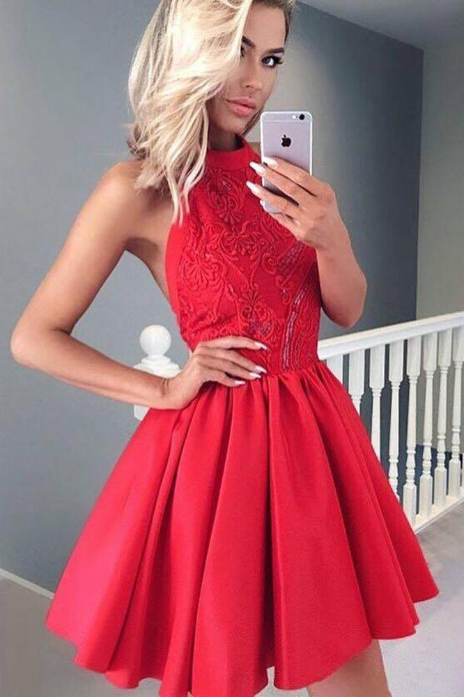 Cute A Line Round Neck Open Back Satin Red Short Homecoming Dresses with Lace JS948