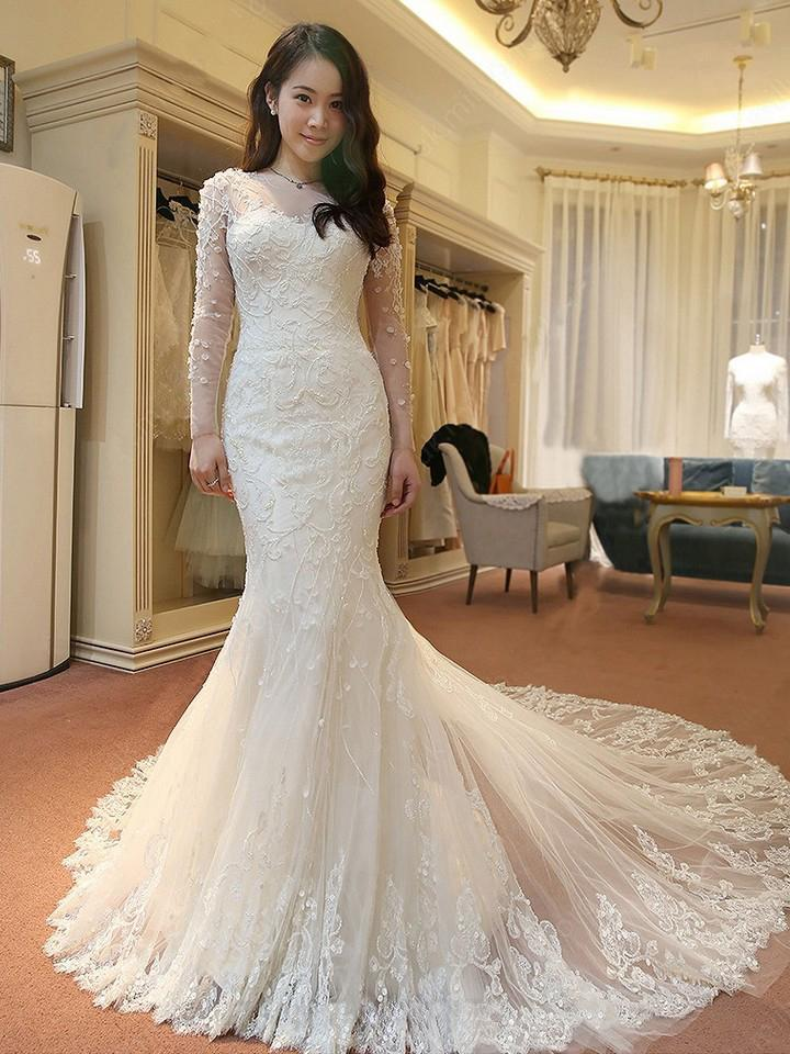 Elegant Mermaid Scoop Neck Tulle Beads Lace Appliques Chapel Train Long Sleeve Wedding Dress JS739