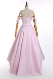 A-Line Pink Off the Shoulder Sweetheart Satin Lace up Hi-Lo Prom Homecoming Dresses JS515