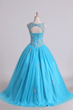 2019 Scoop Quinceanera Dresses Open Back Beaded Bodice Tulle Lace Up
