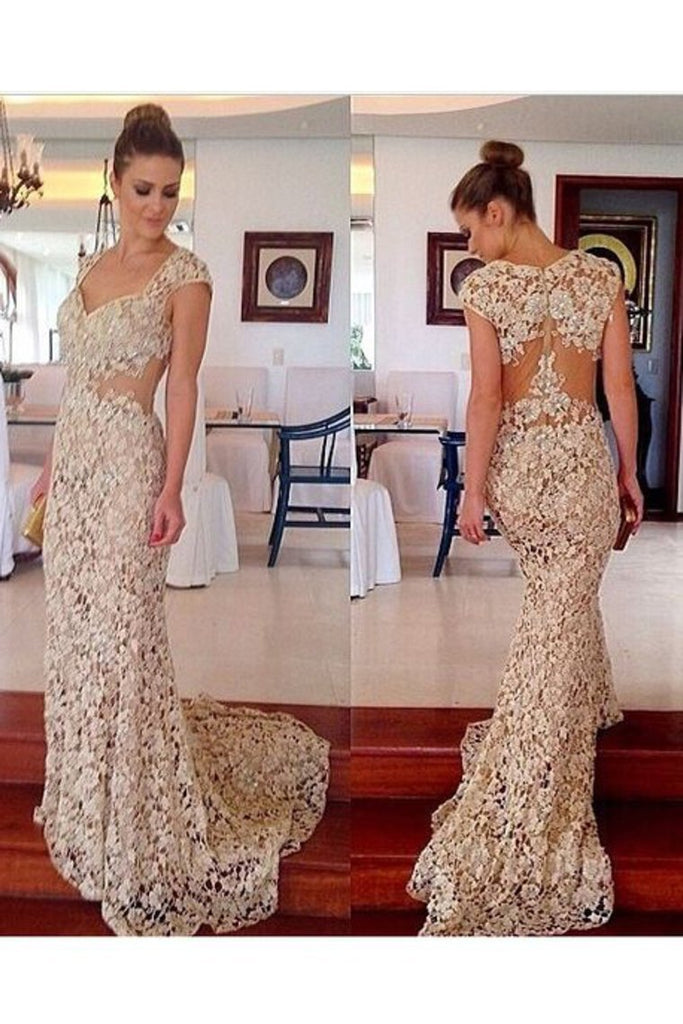2019 Mermaid Straps Lace With Applique Sweep Train Prom Dresses