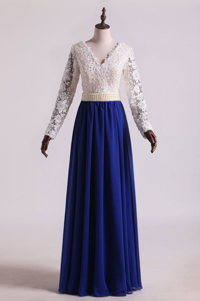 Hot V Neck Prom Dresses A Line Chiffon With Applique Sweep Train Dark Royal Blue