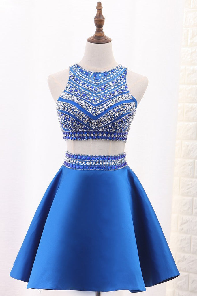 Homecoming Dresses A-Line Scoop Satin Beads&Sequins Short/Mini