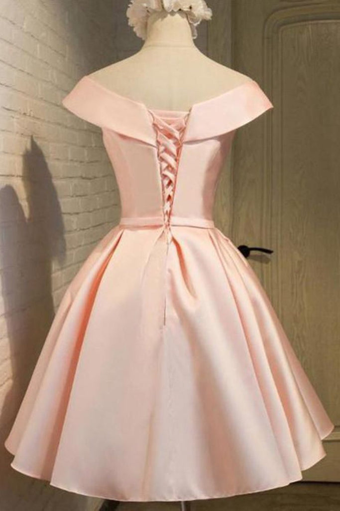2019 Off The Shoulder A Line Homecoming Dresses Satin With Sash